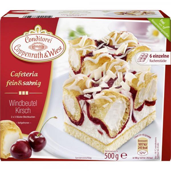 "Blechkuchen ""Cafeteria fein & sahnig"", Windbeutel-Kirsch"