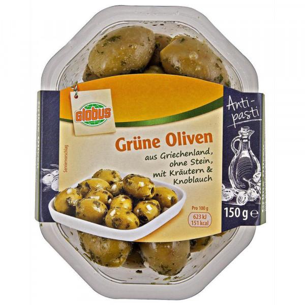 Grüne Oliven mit Kräutern & Knoblauch