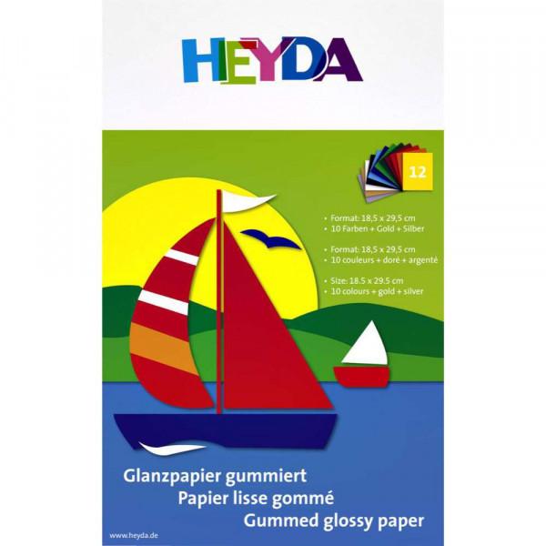 Glanzpapier, verschieden Farben, gummiert