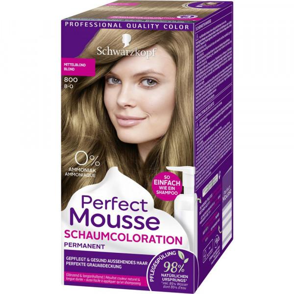 "Haarfarbe ""Perfect Mousse"", 800 Mittelblond"