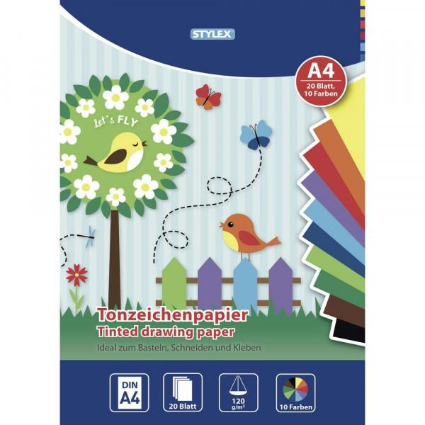 Tonzeichenpapier A4, 20 Blatt, verschiedene Farben