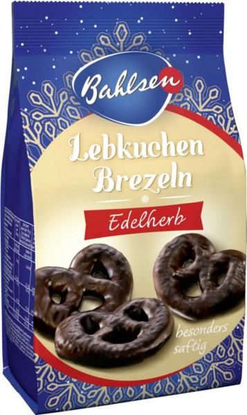 Braune Lebkuchenbrezel mit Überzug aus edelherber Schokolade