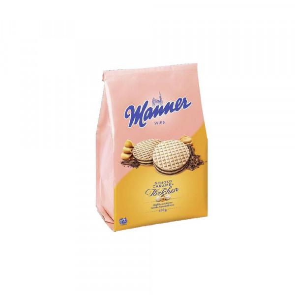 Waffeltaler mit Schokoladen-Karamell-Creme-Füllung