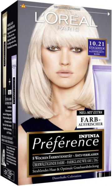 """Dauerhafte Haarfarbe """"Preference"""", 10.21 Platinblond"""
