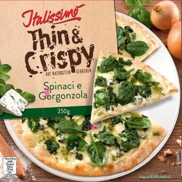 "Steinofen-Pizza ""Thin & Crispy"", Spinaci e Gorgonzola, tiefgekült"