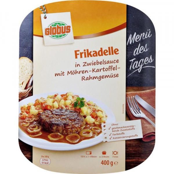 Frikadelle in Zwiebelsauce mit Möhren-Kartoffel-Rahmgemüse