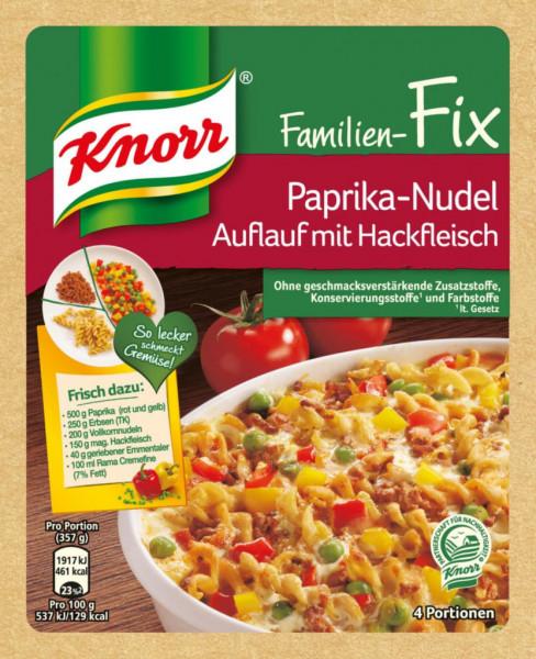 Fix-Würzmischung, Paprika-Nudelauflauf mit Hackfleisch