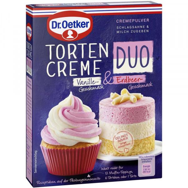 Tortencreme Duo, Vanille-Erdbeer