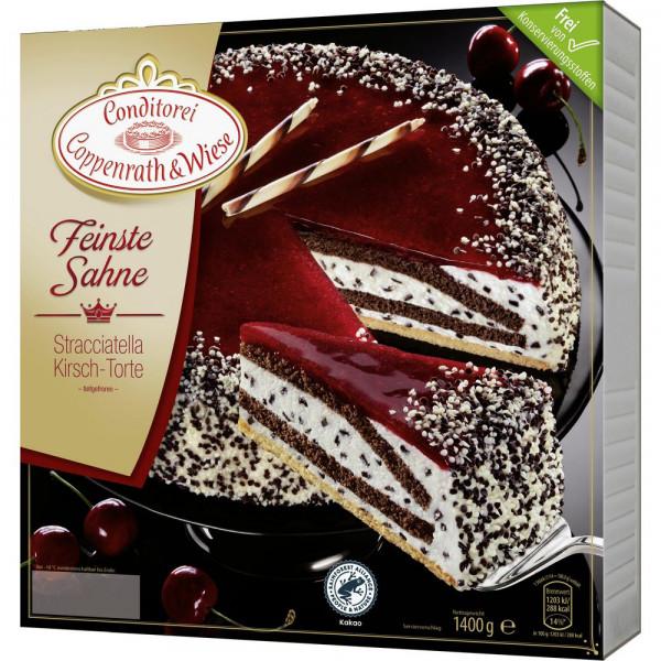 Feinste Sahne Torte Stracciatella/Kirsche, tiefgekühlt