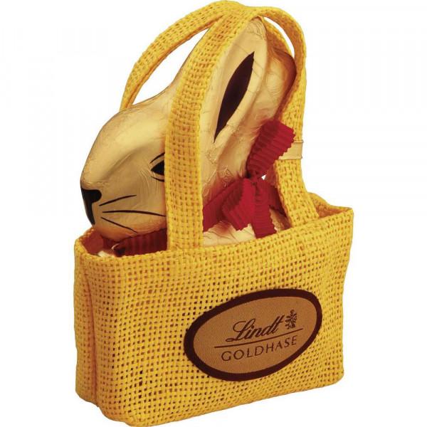 Schokoladen-Goldhase mit Tasche