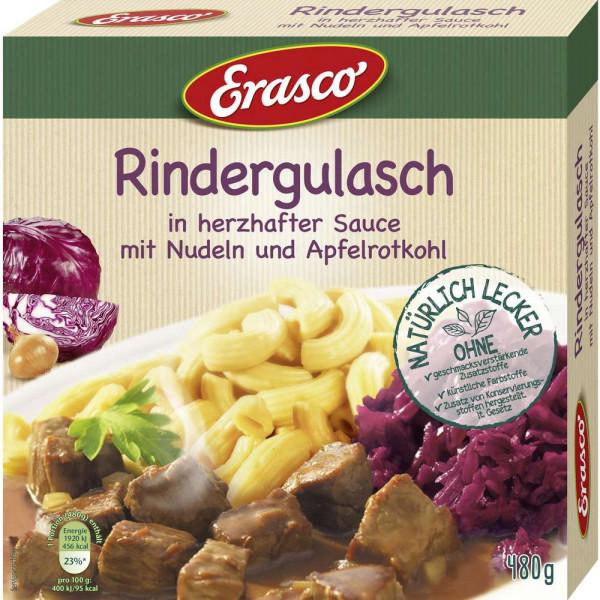 Rindergulasch in Sauce mit Nudeln & Apfelrotkohl