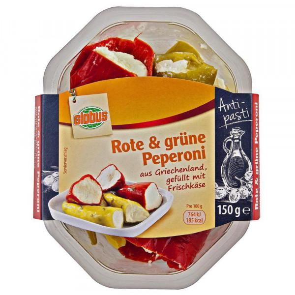 Rote/grüne Peperoni, gefüllt mit Frischkäse