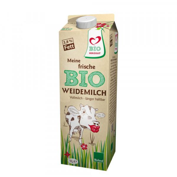 Bio Weide-Vollmilch länger haltbar, 3,8% Fett