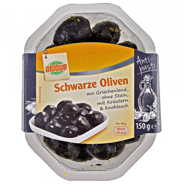 Schwarze Oliven mit Kräutern & Knoblauch