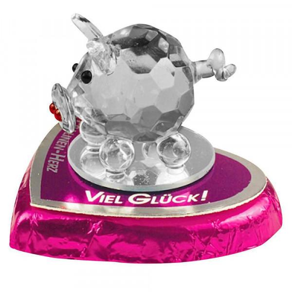 Kristallglas-Schwein auf Pralinenherz