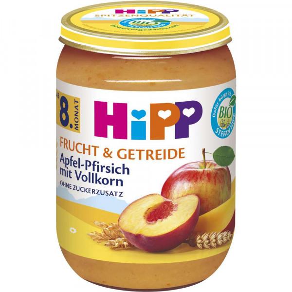 """Bio Babynahrung """"Frucht & Getreide"""", Apfel-Pfirsich mit Vollkorn"""